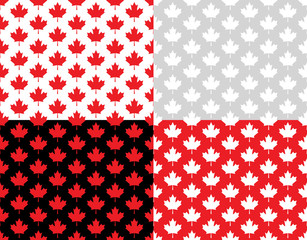 Canadian Maple Leaf Seamless Vector Pattern Tiles in Red, Black, White and Silver Gray. Set of Canada Day July 1st Party Celebration Backgrounds. Repeating Pattern Tile Swatches Included.