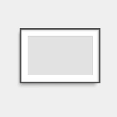 Realistic black photo frame. Vector