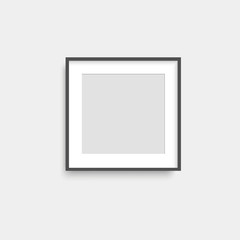 Realistic black photo frame. Vector.