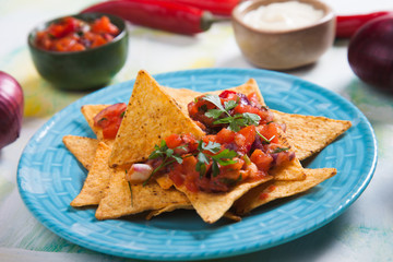 Nachos, mexican meal with tortilla chips