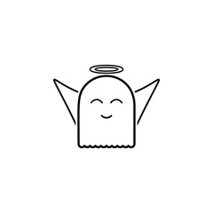 ghost with a halo icon. Element of ghost elements illustration. Thin line  illustration for website design and development, app development. Premium icon