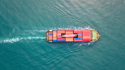 Cargo ship from top view.