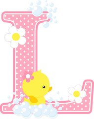 initial l with flowers and cute rubber duck isolated on white. can be used for baby girl birth announcements, nursery decoration, party theme or birthday invitation. Design for baby girl