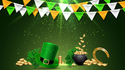 Happy Saint Patrick's Day background, greeting card with with Golden Coins, Hat and Clover Leaves.