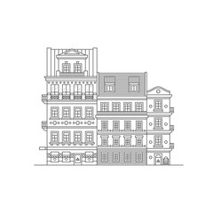 Houses outline of the Czech Republic. European old facades of streets and houses. The city of Plzen. Vector line art