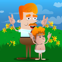 Happy smiling successful businessman and father with hands in rocker pose with his son. Vector cartoon character illustration.
