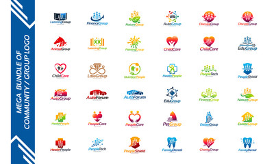 Mega Collection of Vector People Logo designs, Set of Community Logo template
