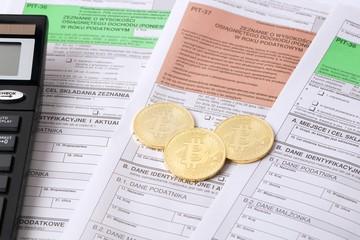Golden Bitcoins with Polish tax dokuments