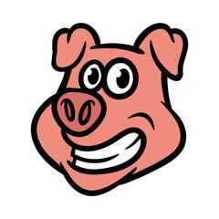 Cartoon Pig Head Illustration