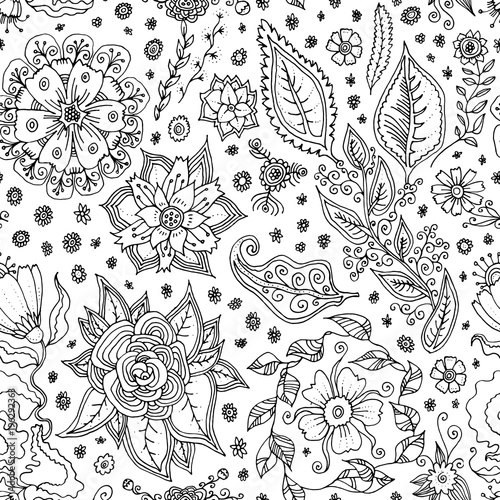 Vector Seamless Pattern With Spring Flowers Hand Drawn Floral Doodle Sale Background