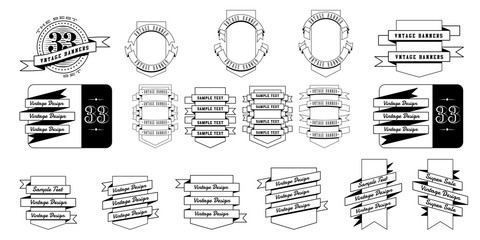 Set of 33 vintage banner ribbons.On the shields. Retro banners isolated on white background. Vector illustration.