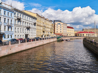 View of the buildings along the Moyka River. St.Petersburg, Russia