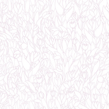 Seamless pattern with cute cartoon  flowers, tulips on white background.
