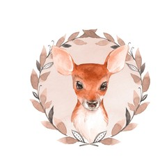 Baby Deer and wreath. Hand drawn cute fawn. Watercolor illustration