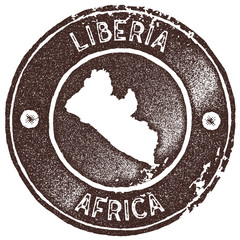 Liberia map vintage stamp. Retro style handmade label, badge or element for travel souvenirs. Brown rubber stamp with country map silhouette. Vector illustration.