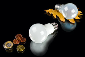 white innovation energy-saving LED bulb, glow-lamp and coins