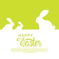 Happy Easter Background For Greeting Card With Bunny Silhouettes And Hand Drawn Calligraphy Vector Illustration