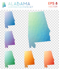 Alabama geometric polygonal maps, mosaic style us state collection. Beauteous low poly style, modern design. Alabama polygonal maps for infographics or presentation.