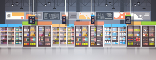 Supermarket Interior Retail Store With Assortment Of Grocery Food On Shelves Horizontal Banner Flat Vector Illustration