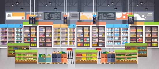 Supermarket Aisle With Shelves, Grocery Items, Shopping, Retail And Consumerism Concept Flat Vector Illustration