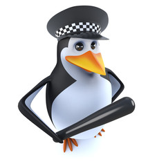 3d Funny cartoon police penguin character holding a truncheon baton