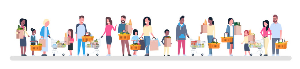 Group Of People Shopping Holding Paper Bags, Baskets And Carts Full Of Grocery Products Isolated On White Background Flat Vector Illustration