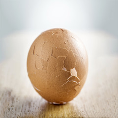 Hard boiled egg with cracked shell