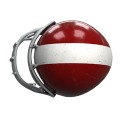 Old American Football Helmet. Red helmet with dirt and scratches. Top view. Oldschool Used Sport Equipment. 3D render Illustration isolated on a white background.