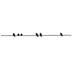 Pigeon silhouettes on the wire. Vector illustration