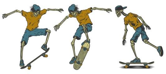 Set of skeletons skateboarders.