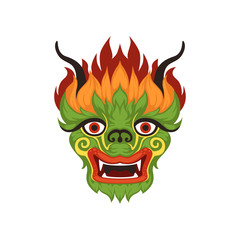 Chinese dragon face, colorful symbol of traditional Boat Festival vector Illustration on a white background
