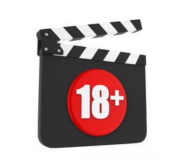 Movie Slate with 18+ Age Restriction Sign Isolated