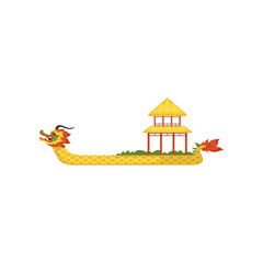 Yellow Dragon Boat, symbol of Chinese traditional Festival vector Illustration on a white background