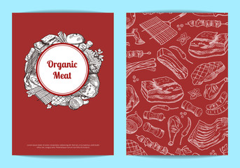 Vector hand drawn meat elements for butchers shop