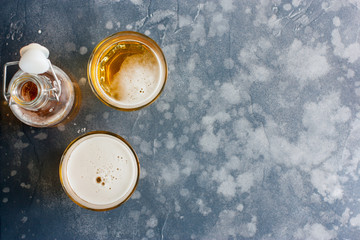 Two glasses of glass of lager beer, top view, copy space