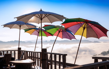 Colorful umbrella. Colorful umbrellas on the balcony at Ban Cha Bo Hill Noodle Pang Mapha District, Mae Hong Son,Thailand.
