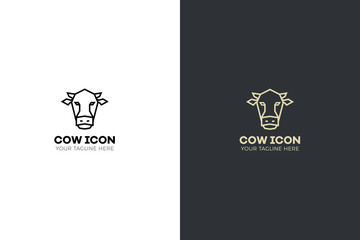 Stylized geometric cow head illustration. Vector icon tribal design