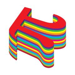Vector Pi symbol in colorful raindow cake shape