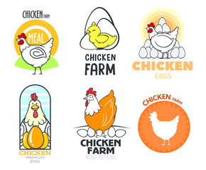 set of logos with chicken and eggs, vector, isolated on a white background, with different logos chicken and eggs, simple logos about chicken, meat and eggs.