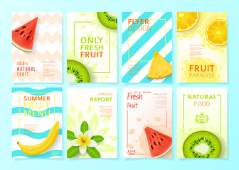 Set of fruit menu flyer design templates. Vector illustration with realistic tropical summer fruit. Brochures design for promo posters or covers in A4 format size.