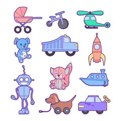 Cute kids toys set of different toys for boys and girls isolated. Include blocks, dog, baby carriage, bike, rocket, cars, boat, helicopter and plushy animals. Vector background eps10 illustration.