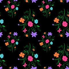 Vivid seasonal flower texture. Abstract seamless floral pattern