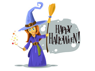 Happy girl witch for Halloween, vector cartoon style. illustration isolated on white background. Dress idea. Trick or treat Halloween card, poster or sticker.