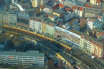 train in Berlin, aerial view