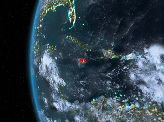 Jamaica in red at night