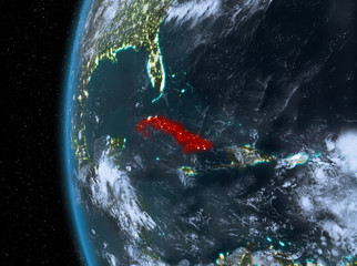 Cuba in red at night