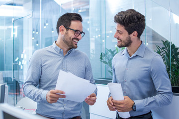 Two handsome bearded business men discussing paperwork in office