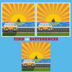 FInd 10 differences bus vector eps design illustration