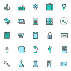 Universal business filled outline icons set, line vector symbol collection, linear colorful pictogram pack. Signs, logo illustration, Set includes icons as factory, hand gesture, calculator, user data