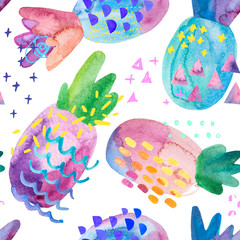 Keuken foto achterwand Grafische Prints Funny colorful pineapples with watercolor texture and drawing elements